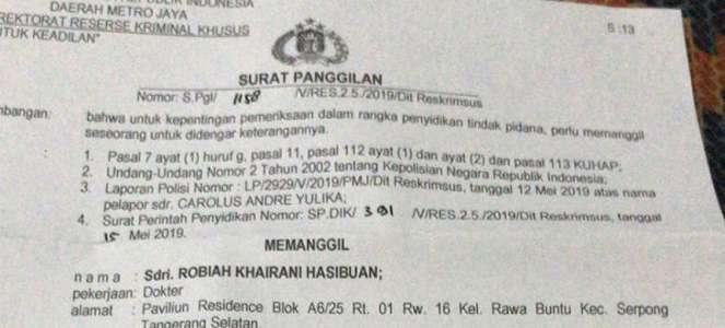 Beredar Surat Panggilan Polisi untuk Dokter Ani Hasibuan