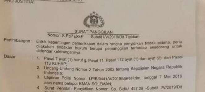Beredar Surat Panggilan Polisi untuk Direktur Satgas Kubu Prabowo