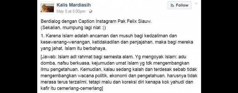 Begini Jawaban Menohok Seorang Gadis Kritisi Caption IG Felix Siauw