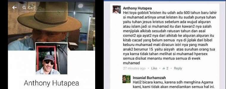Bikin Status FB Hina Islam, Anthony Hutapea Dihujat di Medsos